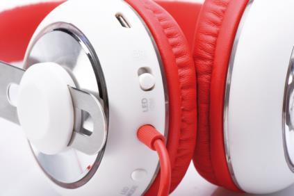 EDNET BEAT LIGHT LED On-Ear Headphones with Microphone 3.5mm MiniJack, white-red