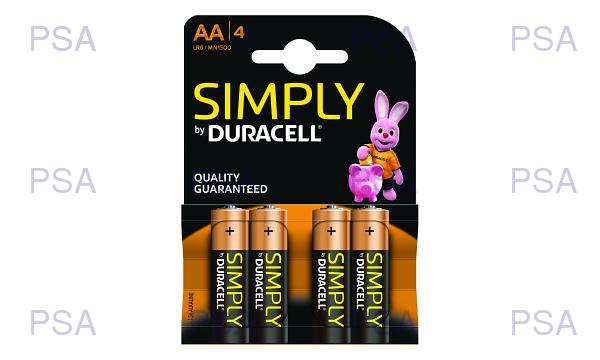 Duracell Simply AA (LR6) pack of 4 Batteries