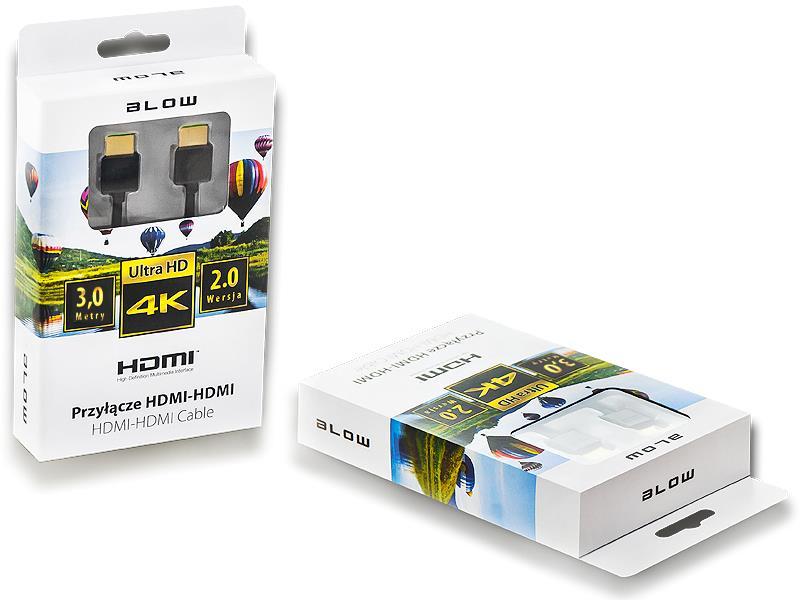 BLOW kabel HDMI-HDMI 2.0 4K 3m, černý