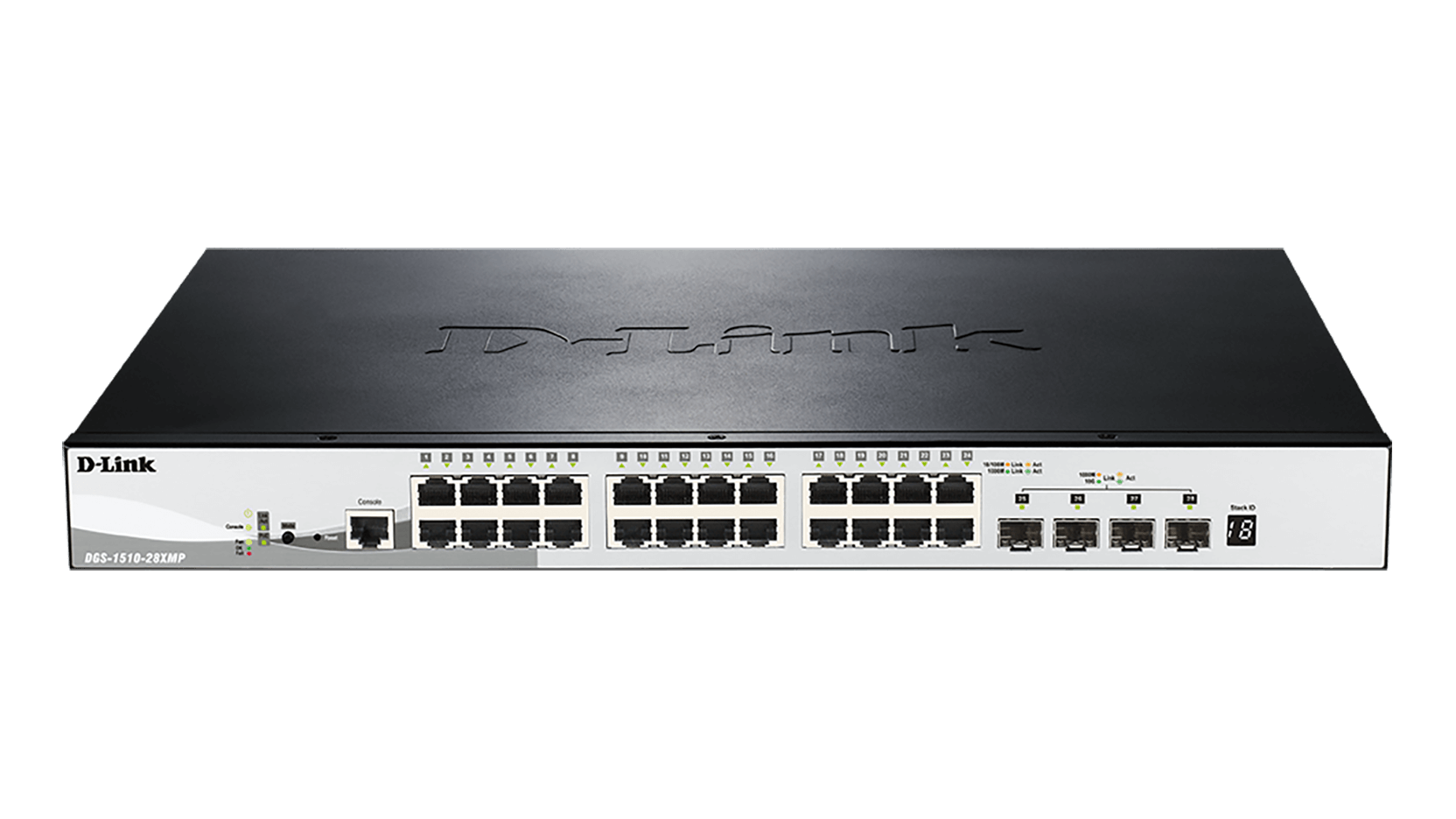 D-Link 28-Port Gigabit Stackable POE (max. 370W) Smart Switch incl. 4 10G SFP+