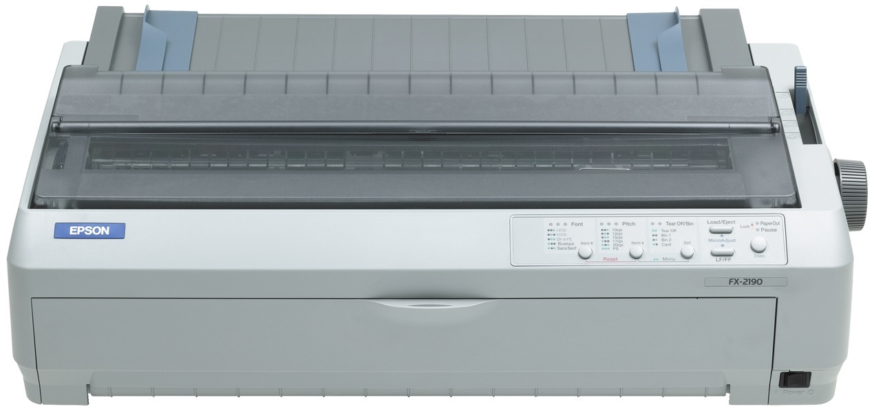 EPSON tiskárna jehličková FX-2190N, A3, 2x9 jehel, 566 zn/s, 1+5 kopii, USB 1.1, LPT, NET