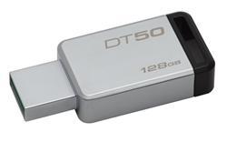 Kingston flash disk 128GB DT 50 USB 3.1 Gen1 (čtení/zápis: 30/5MB/s) kov/černý