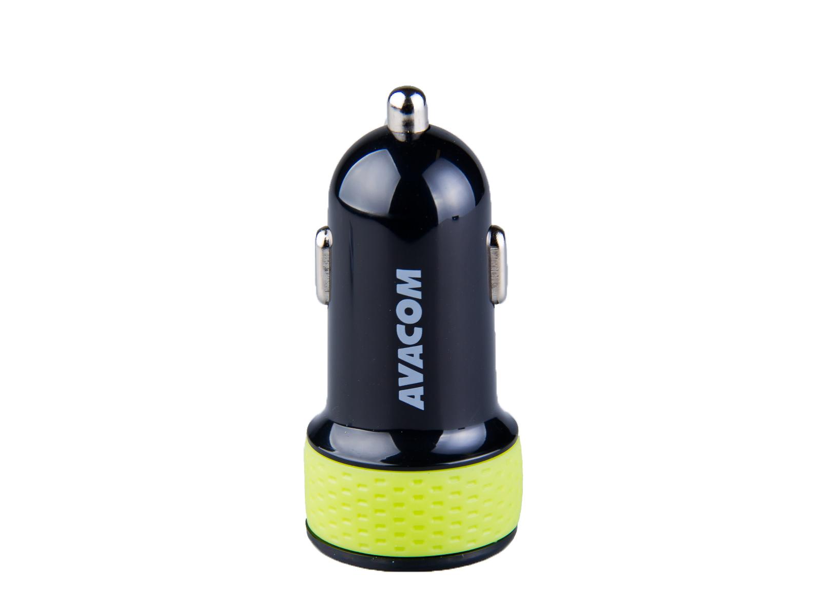 Nabíječka do auta AVACOM NACL-2XKG-31A s dvěma USB výstupy 5V/1A - 3,1A, černo-zelená barva