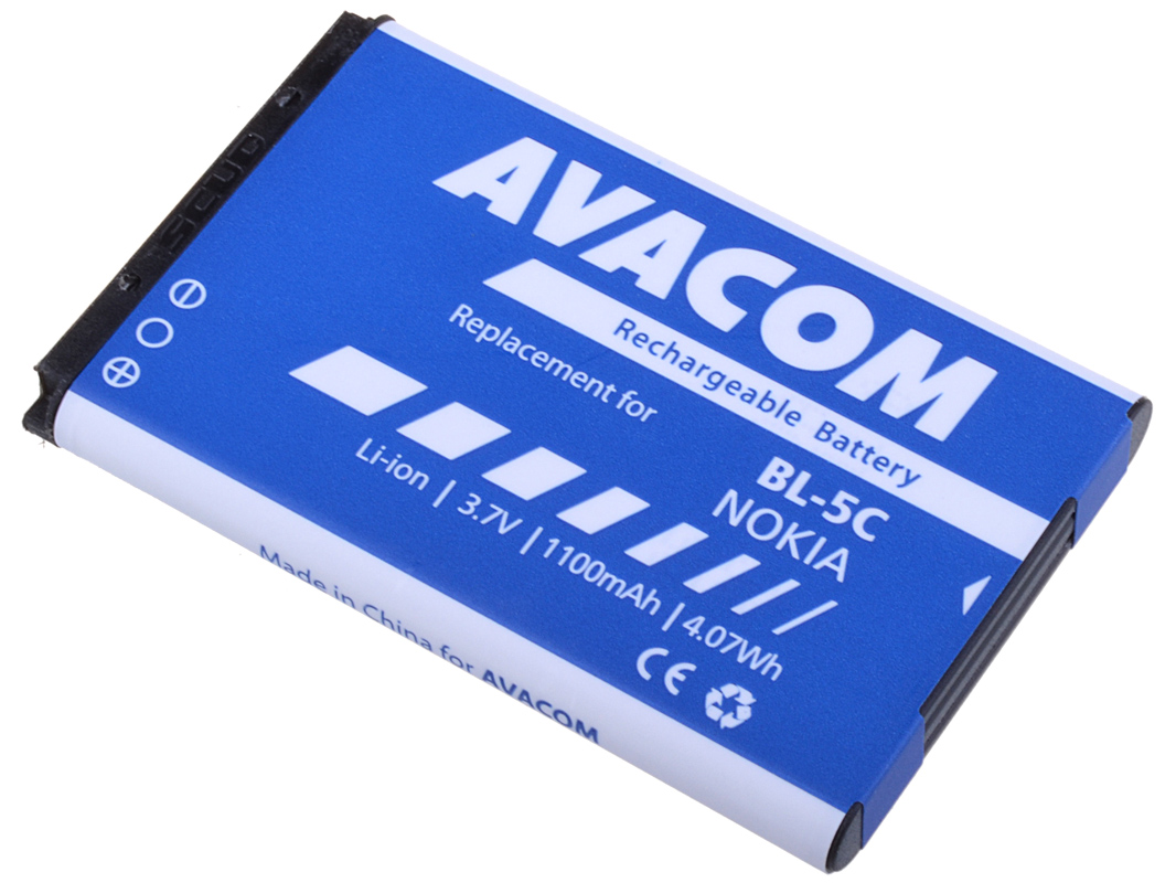 Baterie AVACOM GSNO-BL5C-S1100A do mobilu Nokia 6230, N70, Li-Ion 3,7V 1100mAh (náhrada BL-5C)