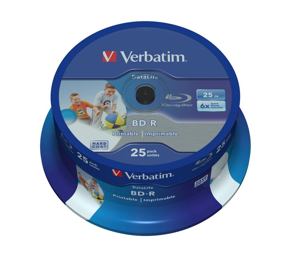 VERBATIM BD-R SL Datalife (25-pack)Blu-Ray/Spindle/6x/25GB Wide Printable