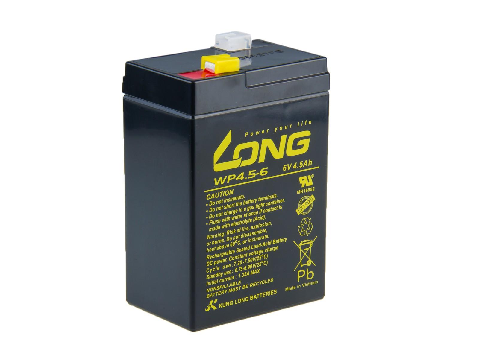 Long 6V 4,5Ah olověný akumulátor F1