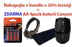 CANYON BUNDLE klávesnice + BEZDRÁTOVÁ MYŠ + SLUCHÁTKA/HEADSET + baterky ZDARMA