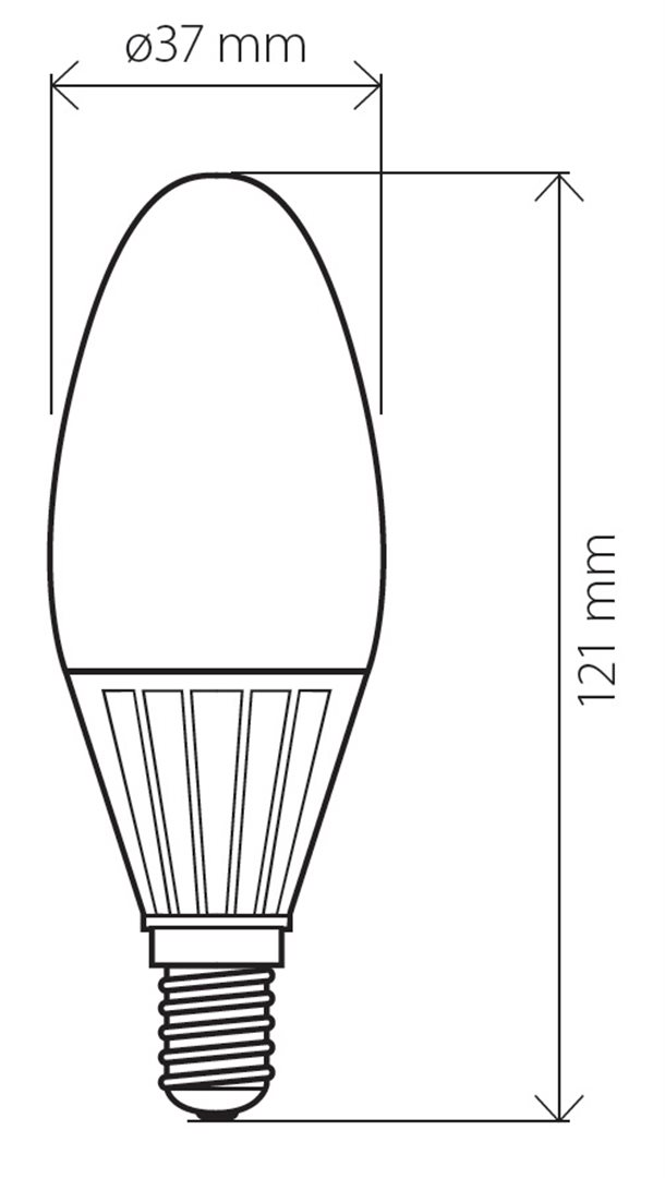 LED žárovka TB Energy E14 230V 4W svíčka, teplá