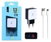 PLUS síťová nabíječka CS101, 2x USB 2,1 A + kabel micro USB, bílá