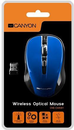 CANYON myš optická bezdrátová CMSW1, nastavitelné rozlišení 800/1000/1200 dpi, 4 tl, USB nano reciever, modrá