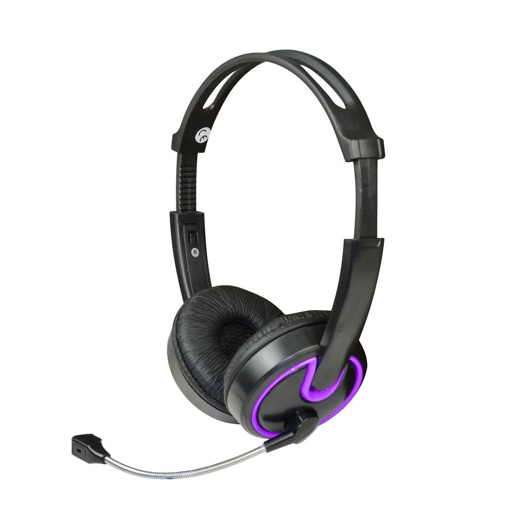 MSONIC Sluchátka s mikrofonem, na uši, ovládání hlasitosti MH563KU černá-fialová