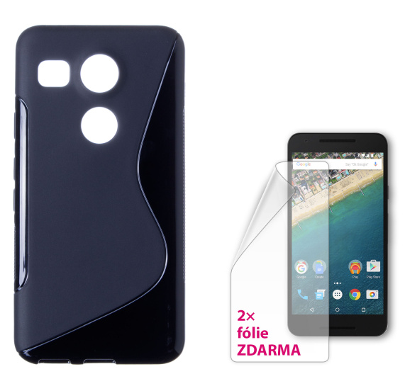 CONNECT IT S-COVER pouzdro a 2 ochranné folie pro LG Nexus 5X ČERNÉ