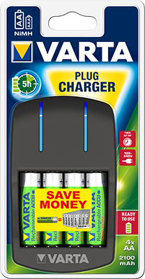 VARTA PLUG-IN CHARGER +2xAA 2100mAh (ready2use)