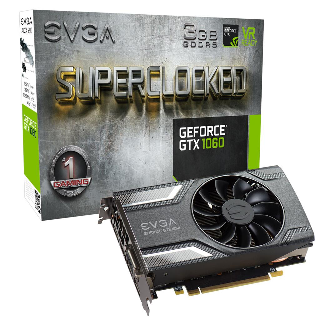 EVGA GeForce GTX 1060 SC GAMING, 3GB GDDR5 (192 Bit), HDMI, DVI, 3xDP