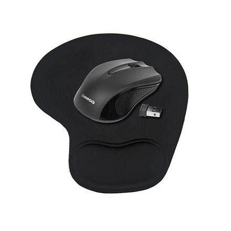 OMEGA bezdrátová myš OM-419, 1000DPI, černá + gelová podložka