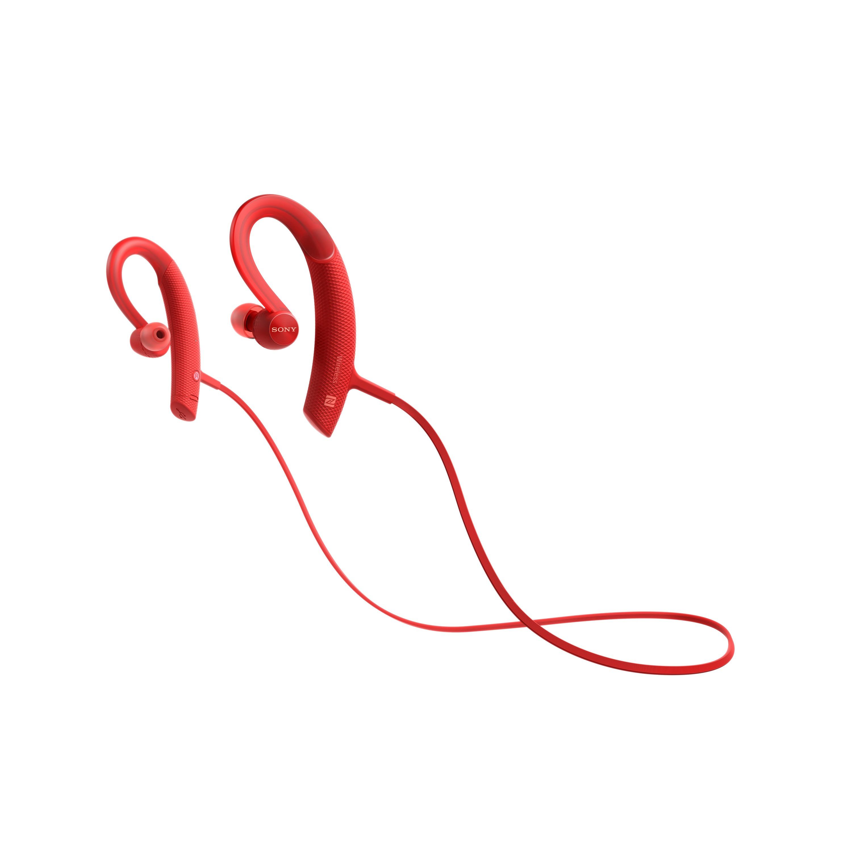 SONY MDR-XB80BS Sportovní bezdrátová sluchátka s uchycením za ucho - Red