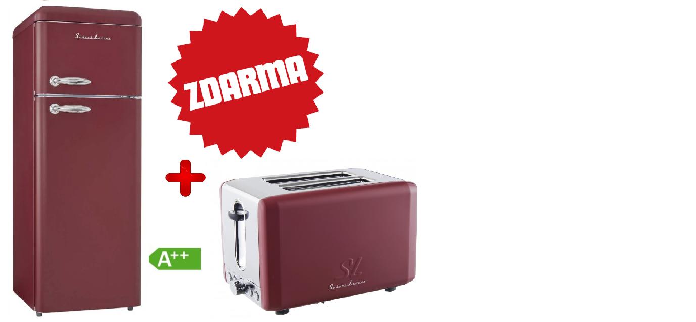 Kombinovaná chladnička Schaub Lorenz SL 210R vínová matná + TOPINKOVAČ