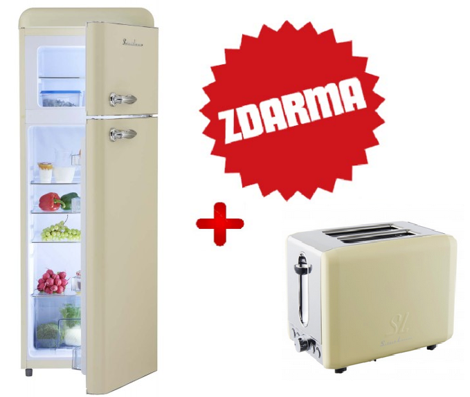 Kombinovaná chladnička Schaub Lorenz SL 210C matná krémová + TOPINKOVAČ