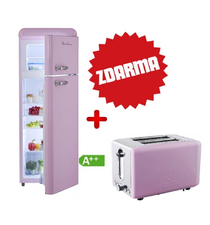 Chladnička Schaub Lorenz SL 210 SP lesklá růžová + TOPINKOVAČ