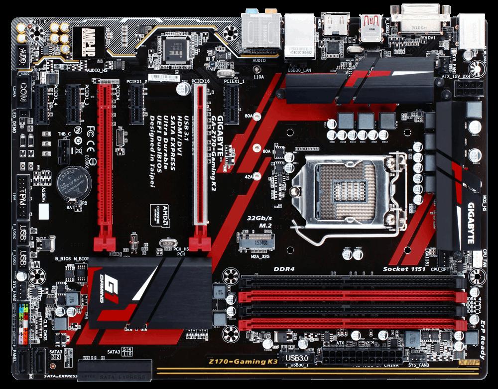 GIGABYTE MB Sc LGA1151 Z170-Gaming K3, Intel Z170, 4xDDR4, VGA