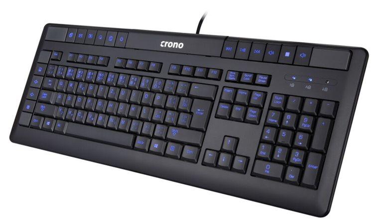 Crono CK2113 - multimediální klávesnice, CZ / SK, USB, černá, modré podsvícení