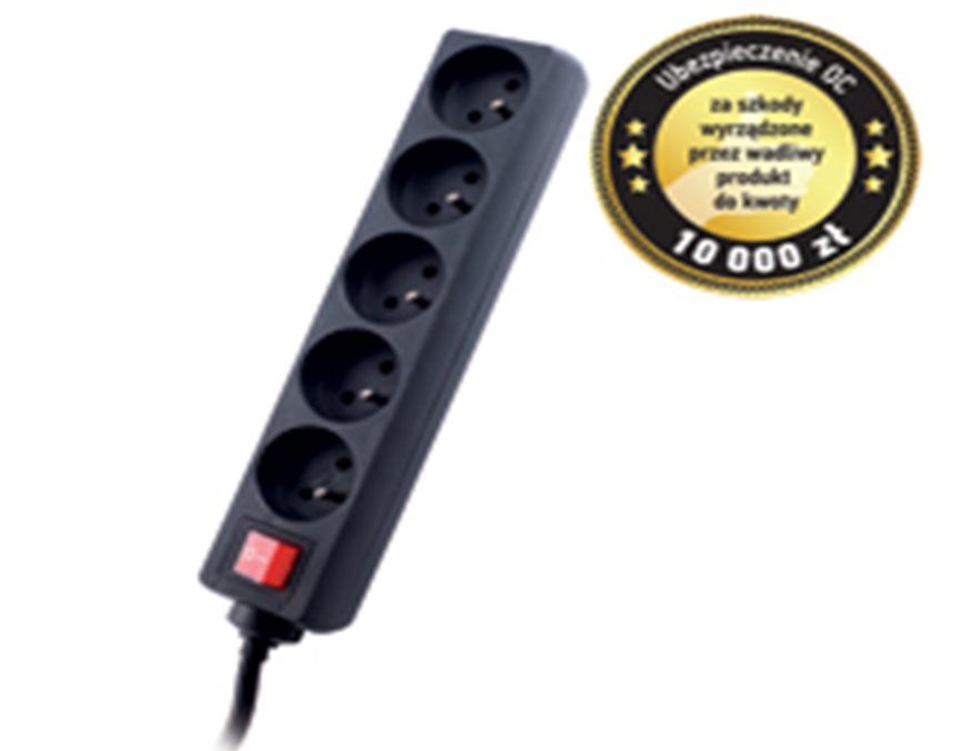 GEMBIRD Surge protector TRACER Power Patrol 3 m Black (5 outlets)