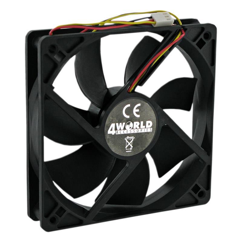 4World Ventilátor pro PC skříně 120x120x25mm, 3-pin, kluzné ložisko