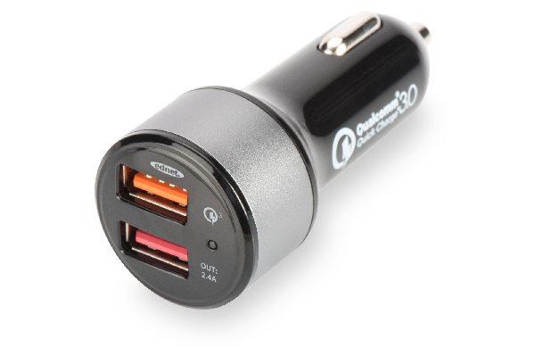 Digitus USB nabíječka do auta, rychlé nabíjení 3.0, 2 vstupní porty 12-24V, výstupy: 3-6.5V/3A, 5V/2.4A