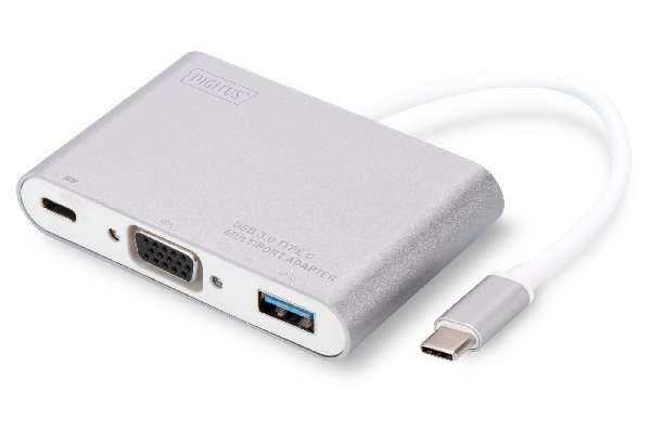 Digitus USB Typ C Multi Adaptér VGA, s 1 USB portem Typu C pro PD, 1 USB 3.0 port Chipset: VL100/VL210/IT6513