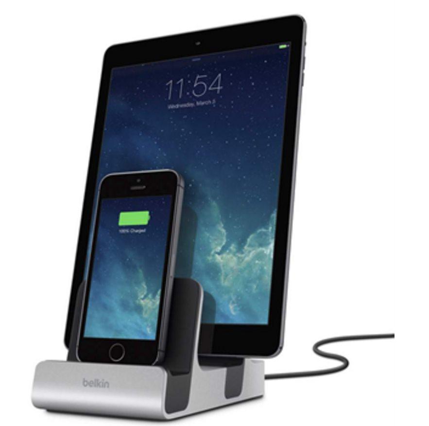 Belkin nabíjecí a synchronizační dock MIXIT DUO pro 2x iPhone/iPad - stříbrný