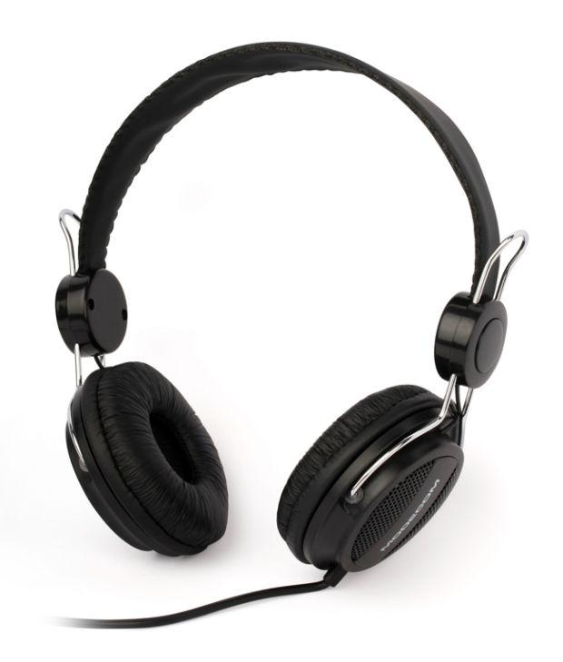 Modecom sluchátka MC-400, mikrofon a ovládání hlasitosti na kabelu (černá)