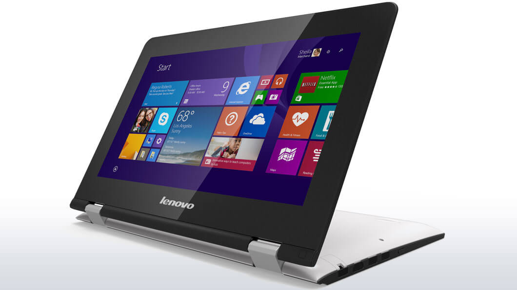 "Lenovo YOGA 300-11IBR Pentium-QC N3710 2,56GHz/4GB/SSHD 500GB+8GB/11,6"" HD/IPS/multitouch/WIN10 bílá 80M100HECK"