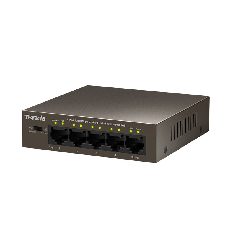 Tenda TEF1105P-4-63W PoE AT switch 4x PoE 802.3af/at, 5x 100Mb/s, PoE celkem 63W, fanless