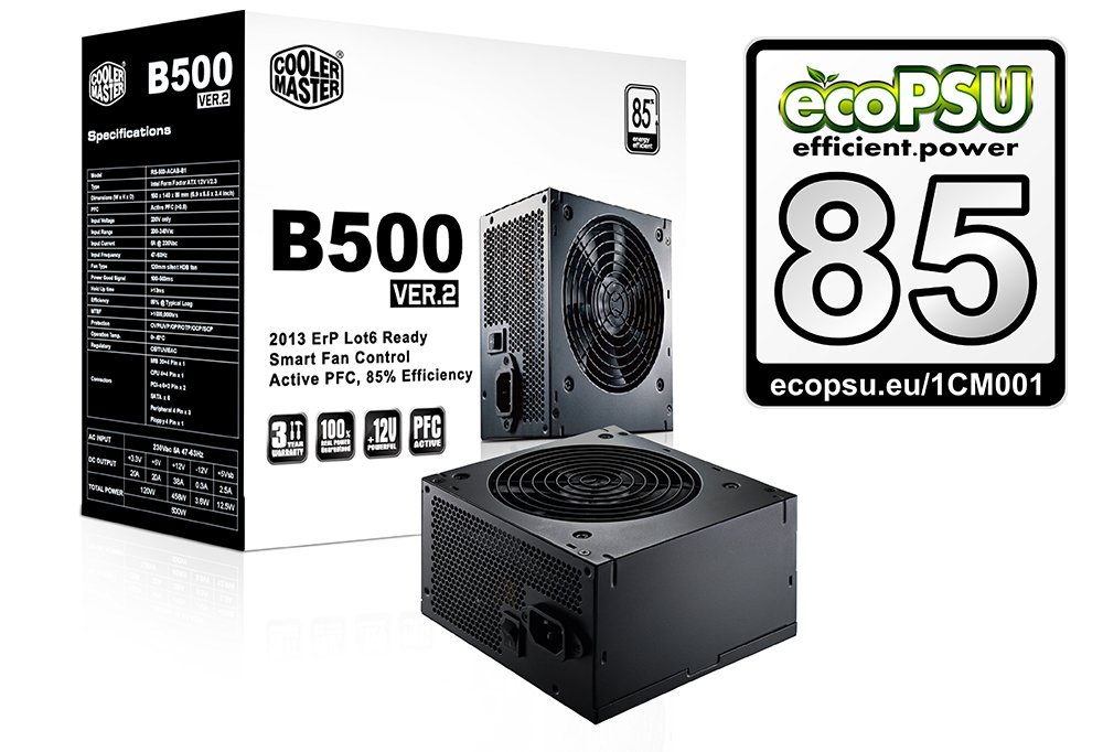 Cooler Master zdroj 400W, eff. 85% 80Plus B400 ver.2, Active PFC, 120mm větrák bulk