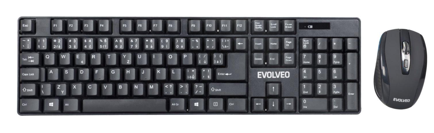 EVOLVEO WK-142, set bezdr. klávesnice a myši , 2,4GHz, USB