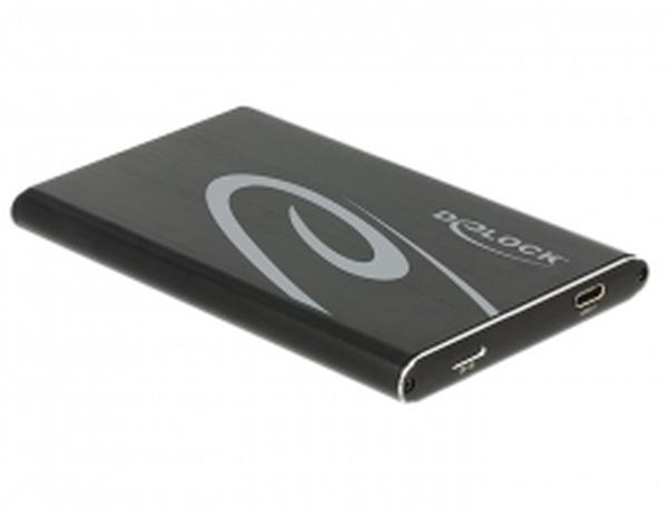 """Delock 2.5"""" externí skříň pro SATA HDD s připojením na SuperSpeed USB 10 Gbps (USB 3.1 Gen 2) (až do 7 mm HDD)"""