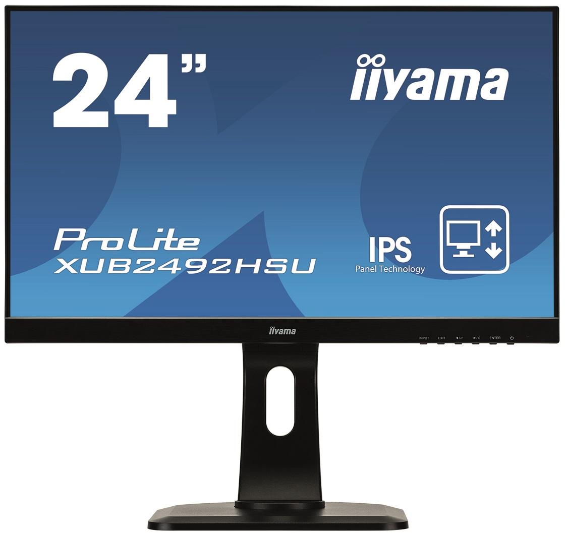"""24"""" LCD iiyama XUB2492HSU-B1 -IPS, 5ms, 250cd/m2, 1000:1 (5M:1 ACR), DP, USB hub, HDMI, repro, pivot"""