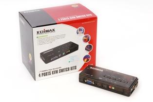 Edimax KVM switch, 4 ports, USB, desktop + 4 x KVM kabel