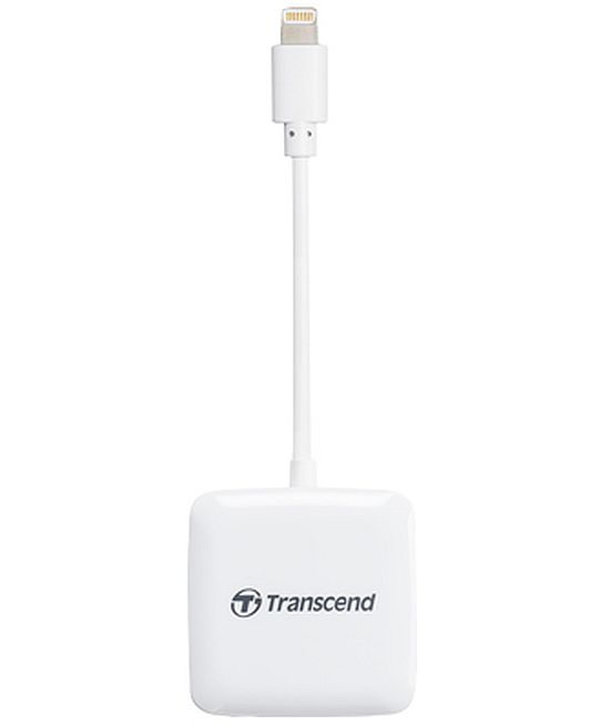 Transcend čtečka paměťových karet pro Apple iPhone/iPad/iPod, Lightning connector, bílá - SDHC / SDXC, microSDHC / S