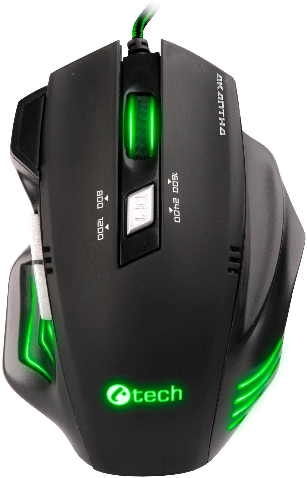 C-TECH herní myš Akantha (GM-01G), herní, zelené podsvícení, 2400DPI, USB