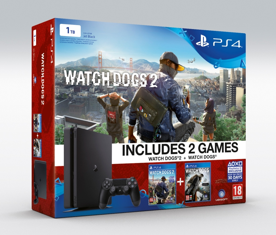 SONY PlayStation 4 Slim - 1TB + Watchdogs + Watchdogs 2