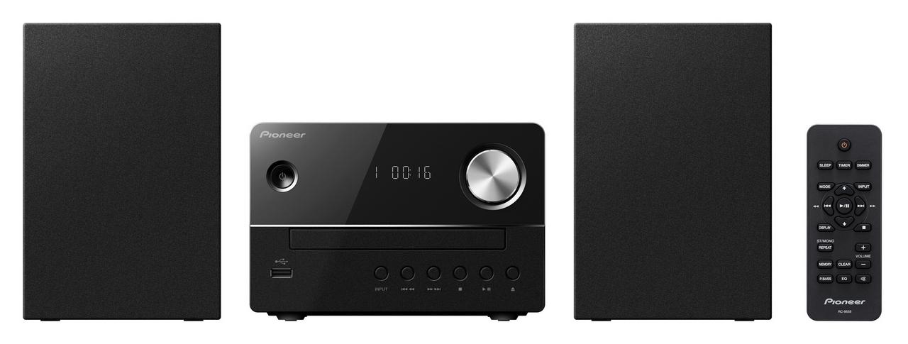 Pioneer systém s CD, USB černý + sluchátka ZDARMA