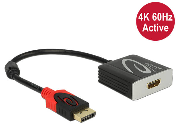 Delock Adapter Displayport 1.2 male > HDMI female 4K 60 Hz Active