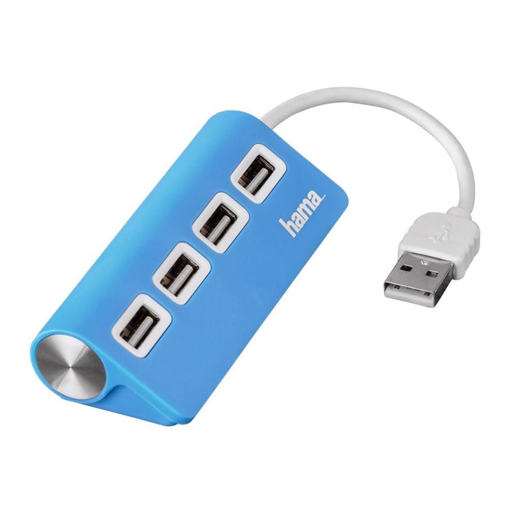 Hama USB 2.0 Hub 1:4, napájení USB, modrý