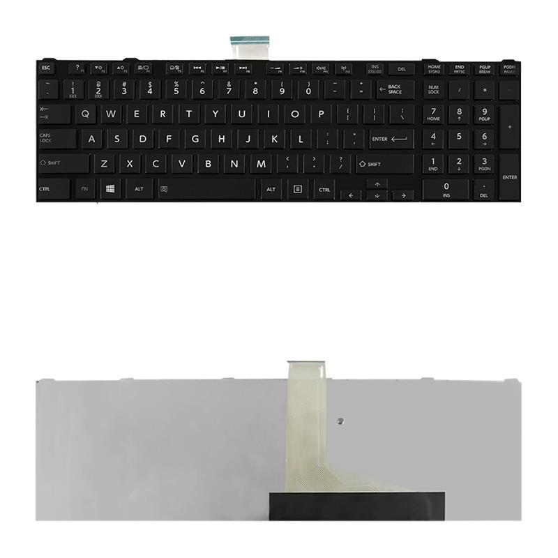 Qoltec Notebook Keyboard for Toshiba L850 Black Frame glossy