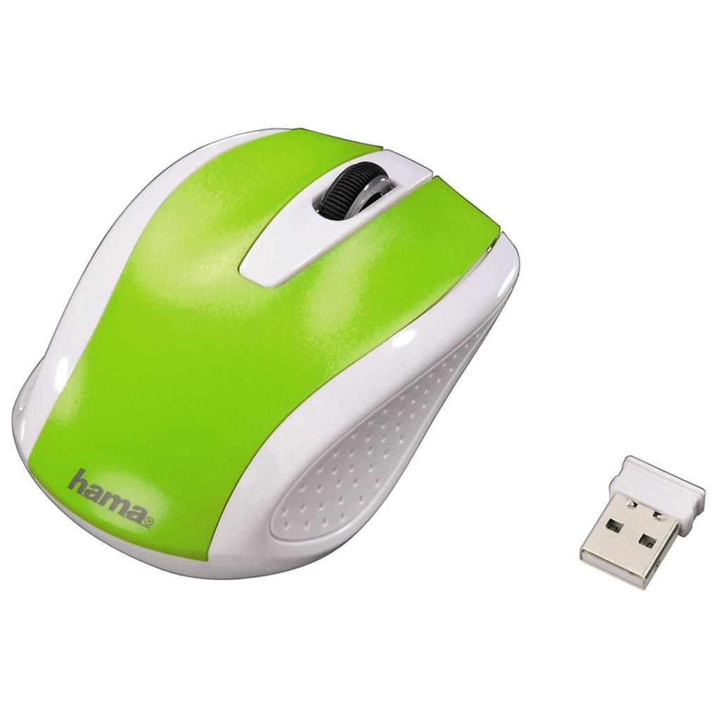 Hama bezdrátová optická myš AM-7200, bílo-zelená
