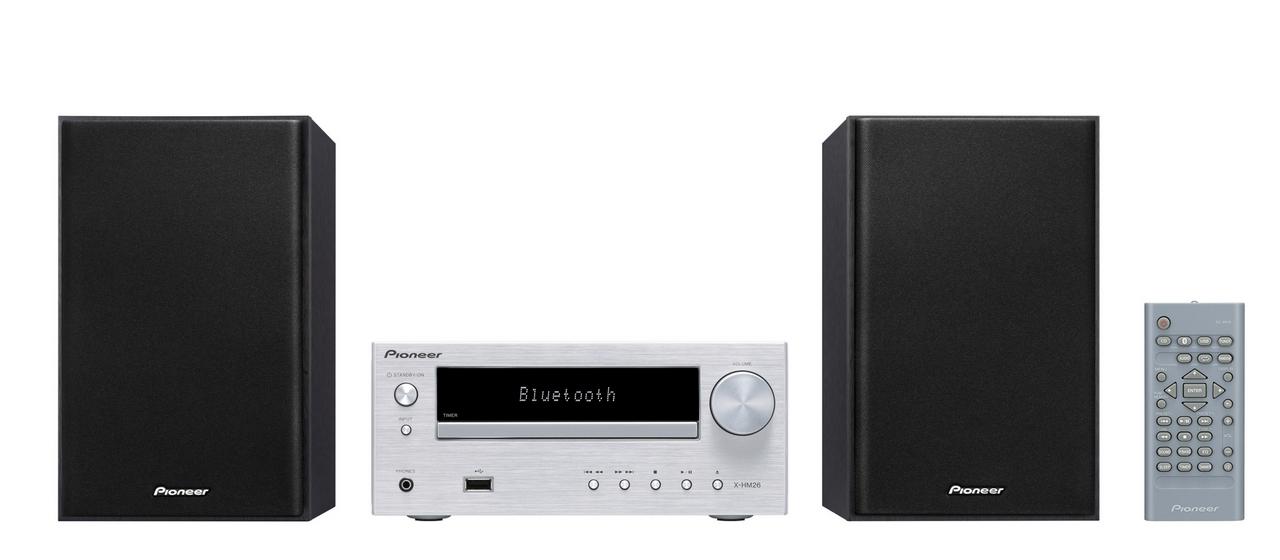 Pioneer mikro systém s CD, USB, BT stříbrný
