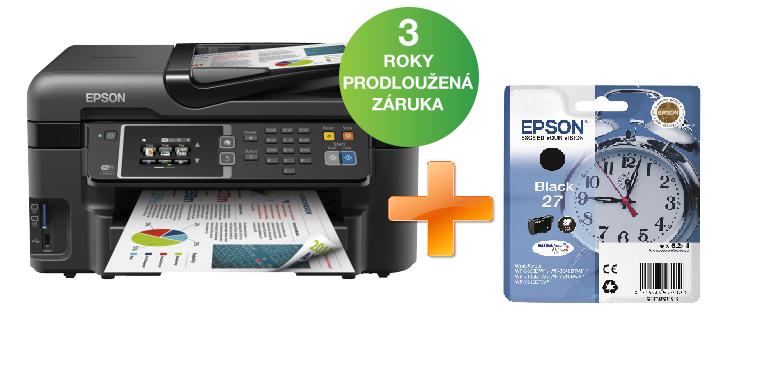 EPSON WorkForce WF-3620DWF - A4/19-10ppm/4ink/WiFi/LAN/FAX/LCD/duplex/CardReader/ADF/PictBridge/iPrint + černá náplň za 1 Kč