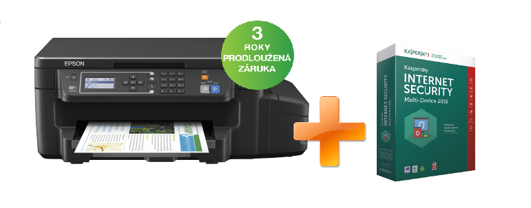 EPSON L605, A4, 4800x1200 dpi, 33/20 ppm, Wifi,USB + Kaspersky Internet Security2016 zdarma