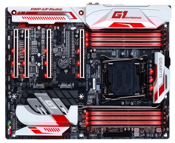 GIGABYTE MB Sc LGA2011-3 X99-Ultra Gaming-EK, Intel X99, 8xDDR4, Color Lighting